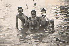 John, Colin and Mark Weightman with                           Arthur Collins at front in Winn's Common                           paddling pool c.1949. Photo: Colin Weightman