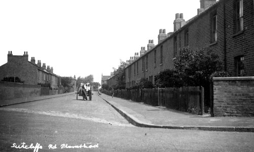 Sutcliffe Road, Plumstead. Lily Hall                           lived there for 50 years after her sister Rose                           Hall got married to George Selves. Note the                           milk delivery man and wagon.                           The date of photo is About 1918. Photo: John                           Miles